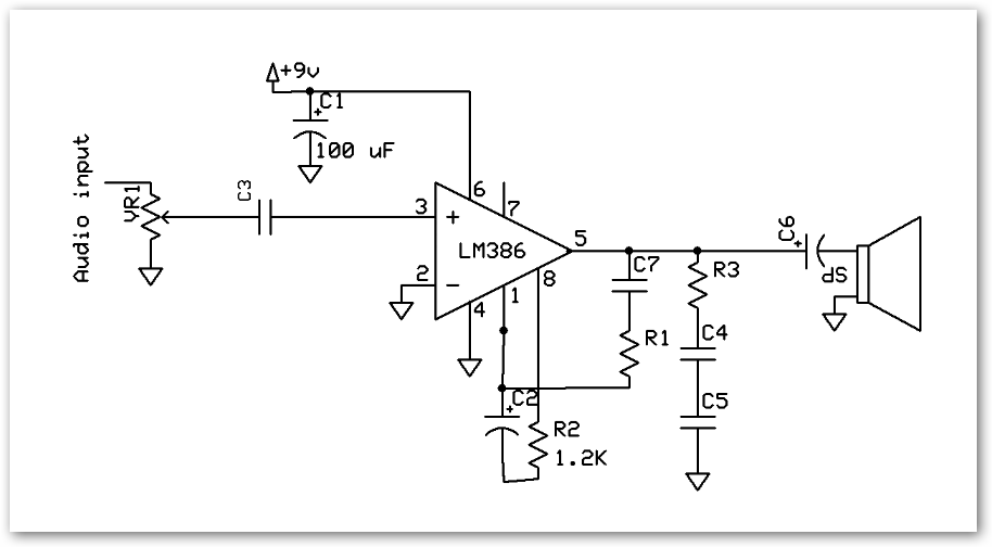 Audio Amplifier using LM386 Digital Lab