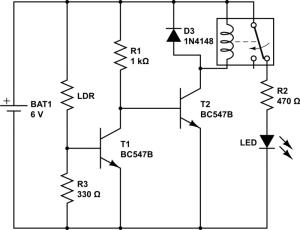 Dark sensor with relay