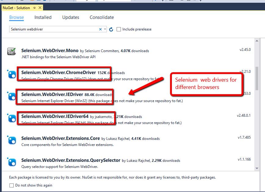 Step2 select selenium webdrivers 2