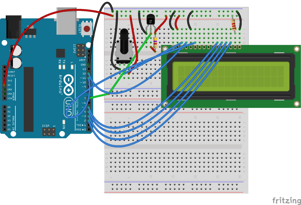 LCD display Arduino UNO breadboard diagram