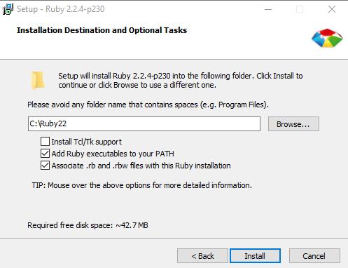 Installing Ruby cucumber on Windows 10